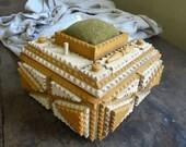 Mustard Tramp Art Sewing Box