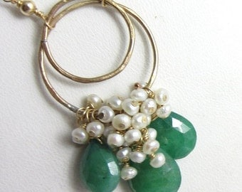 SALE Deep Green Emerald and Freshwater Pearl Cascade Necklace in 14k Gold Fill