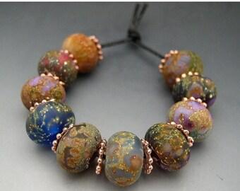 SALE Naos Glass - Lavish Garden Set - Blue Pink Green Made To Order Handmade Lampwork Beads Set SRA
