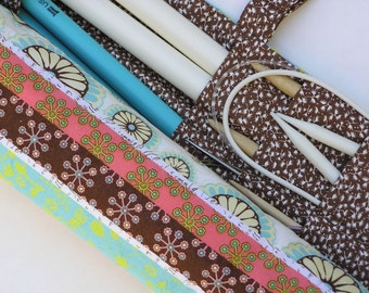 large knitting needle case - knitting needle organizer - knitting needle storage -multi design quilt look print- 36 pockets