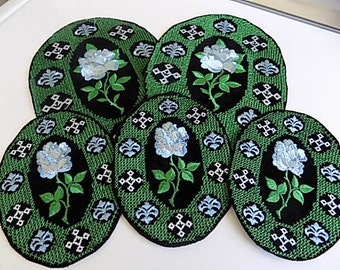 Vintage Blue and Green Floral Appliques Patches