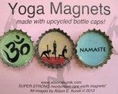 Yoga Magnets - Bottle Cap Magnets - Packaged Gift Set of 3 - Yoga Gift