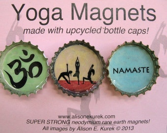 Yoga Magnets - Bottle Cap Magnets - Packaged Gift Set of 3 - Yoga Gift -  Refrigerator Magnets
