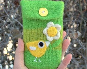 Green wool pouch bag purse cellphone cozy needle felted yellow birdie bird and flower