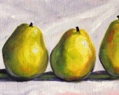 Still Life Oil Painting, Original Pear Art, Kitchen Wall Decor, Green Fruit, Small 5x7 Canvas, Green Lavender, Minimalist Food, Simple