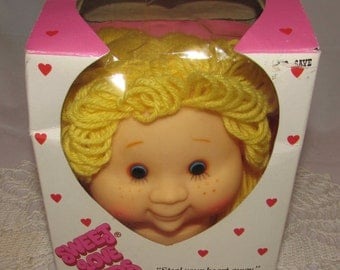Vintage Sweet Love Kids Girl Doll Head Unused in Original Box, 80s, Yellow Yarn Hair Doll Head, Doll parts