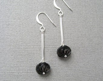 In Shadows earrings - silver plated metal and etched, faceted jet black glass bead earrings