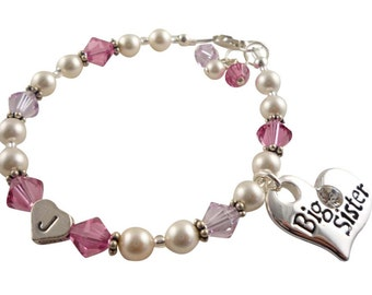 Rose Pink & Purple crystal and pearl swarovski Big Sister initial Bracelet -any color