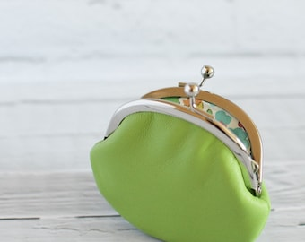 Small Leather Coin Purse Apple Green with Liberty of London Floral Lining