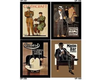 VP157-160 Vintage Poster Art - One 8x10 or Two 5x7s - Men's Fashion Clothcraft, Hohlwein Kehl PKZ, Cassandre Ernest Hats, Erdt Maxim Bar