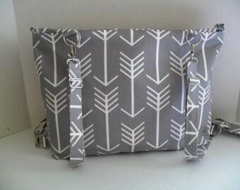Large Backpack Diaper Bag Convertible - Gray Arrow - Diaper Bag - Backpack