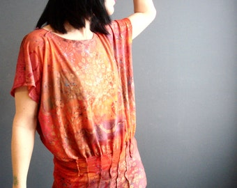 Love Like a Sunset - iheartfink Handmade Hand Printed Womens Wearable Art Print Spring Fashion Jersey Top