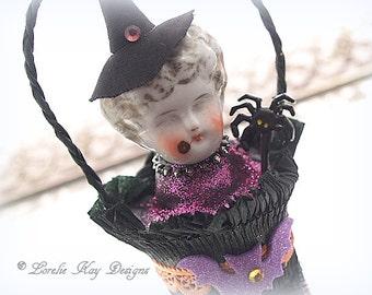 Vintage Inspired Halloween Art Doll Ornament Doll Hanging Art Doll Mixed Media China Doll Head Lorelie Kay Original