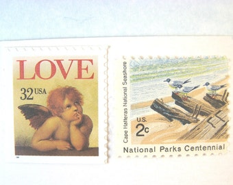 Postcard Postage Stamps, 2017 Rate, Beach Seashore Love Cherub Stamps, Mail 20 Save the Date or RSVP Postcards 2017, 34 cents postage stamps
