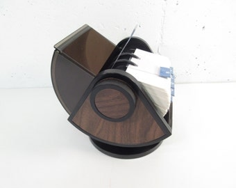 Vintage Rolodex, wood grain and smoked plastic, round top rolodex, mid century, 1970s