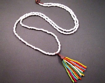 Rainbow Tassel Necklace, Extra Long White Glass Beaded Chain, Copper Pendant Necklace, FREE Shipping U.S.