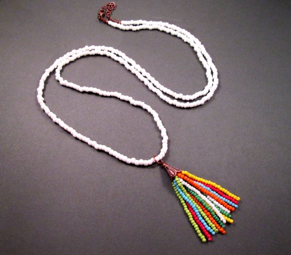 Rainbow Tassel Necklace, Extra Long White Glass Beaded Chain, Pendant Necklace, FREE Shipping U.S.