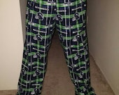 Seahawks cozy flannel launch pants pajama bottoms. Mens size XS, S, M , L , XL, XXL, short and tall sizes available by request