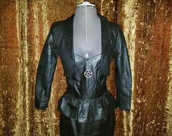 Vintage Black Genuine Leather Jacket Shrug Bolero XS UNIK