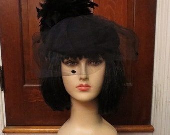 ON SALE Vintage 1940's Black Wool Doeskin Hat Feathers and Veil
