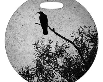 Luggage Tag - Crow Photo - 2.5 inch or 4 Inch Round Large Plastic Bag Tag