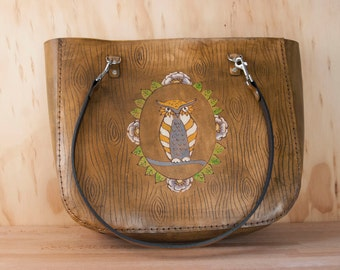 Leather Tote - Large Carved Oversize Purse in the Emerson Owl Pattern - Owl, Woodgrain and Flowers in Antique Brown