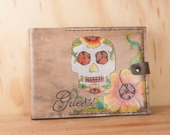Guest Book -  Wedding guest book - Leather with day of the dead sugar skull - Vesa pattern with flowers in yellow, orange, green