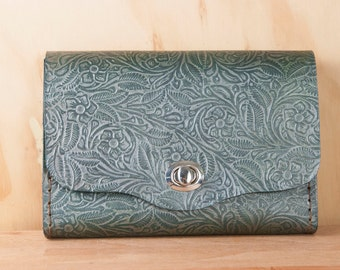 Leather Waist Purse - Small Tooled Leather Box Clutch in Mermaid - Use as Bum Bag - Clutch - Shoulder or Crossbody Bag
