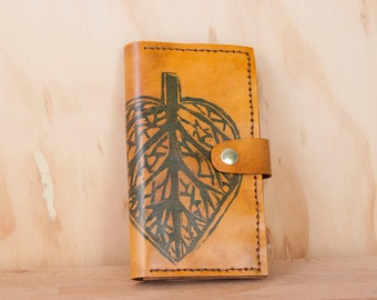 iPhone 6 Wallet -  Leather iPhone 6 Plus Case in the Leaf pattern in blue and antique tan - iPhone 5 6 or 6+