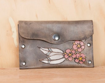 Small Leather Pouch - Dakota pattern with flowers in pink and antique black - Case for Business Cards, Coins or Wallet