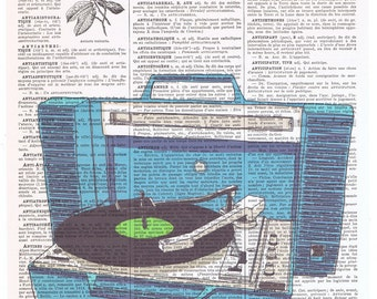Blue.turntable.dictionary.book page print art.vintage.Stereo.Home.old School,Music.Record Player.artist.dj.disc jockey.mom.dad.christmas.eco