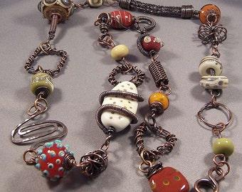 Handmade Lampwork Bead, Wire Woven, and Antique Copper Necklace by Monaslampwork - Rustic Relic - Mona Sullivan Organic Gypsy Sassy Copper