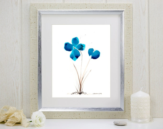 "Art print of watercolor flowers: ""Bluest of Blue Flowers"""