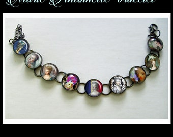 Marie Antoinette bracelet, altered art  bracelet...ready to ship with gift box, Marie Antoinette jewelry, Paris, french, diva, queen