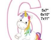 Birthday 6 Fairy Tale Unicorn Machine Embroidery Applique Design Pattern 5x7 6x10 7x11 INSTANT DOWNLOAD