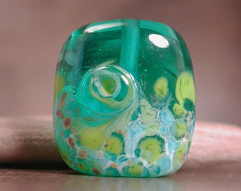 Lampwork Glass Focal Bead Square Nugget Teal Lime Turquoise Divine Spark Designs SRA