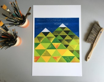 Mountain Triangles, 13x19 and 8.5x11, art print,