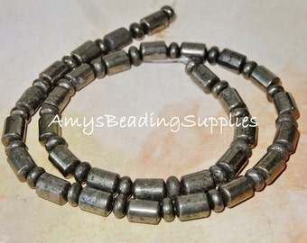 Pyrite Rondelle and Barrel, 6mm, 15.5-Inch Strand FOOLS GOLD