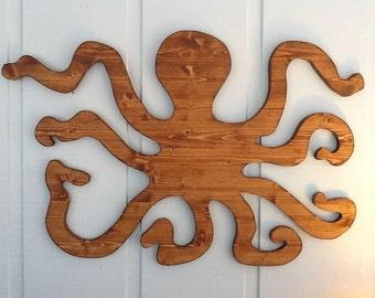 Large 3' Octopus Wood Wall Decor / Nautical Coastal Beach Home House Decor