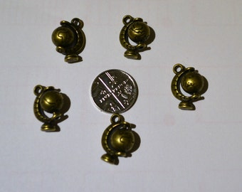 5 spinning world antique bronze charms