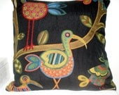 Pillow Cover in Tapestry With Folk Art Birds 20 inch