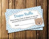Printable Blue Bear Baby Boy Shower Diaper Raffle Tickets - Instant Download