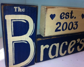 Family Name sign PERSONALIZED set stacking wood blocks Monogram Initial wedding anniversary shower gift custom