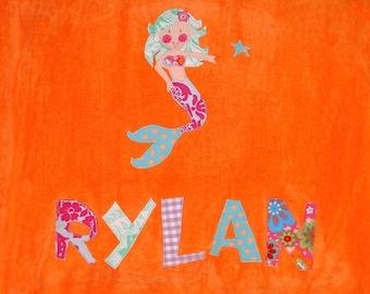 Personalized Large Orange Velour Beach Towel with Mermaid, Pool Towel, Kids Bath Towel, College Towel, Bridal Party Gift, Mermaid Gift