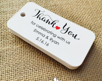 Custom Thank You Tags, Wedding Tags, Personalized Tags, Custom Wedding Tags, Gift Tags, Personalized, Custom Tags - Set of 20