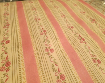 Robyn Pandolph Lisere Stripe Fabric Pink Roses Ticking-Look