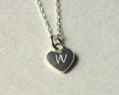 Womens Personalized Initial Necklace, Custom Monogram Heart, Silver Initial, Personalized Jewelry, Hand Stamped, Jewelry Gift, Delicate