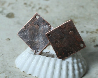 Hand hammered antique copper sqaure connector drop dangle size 16x16mm, 2 pcs (item ID XW00754ACD)