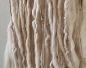 Oh Beautiful Day icy white wool yarn single ply bulky yarn 88 yards bfl mohair undyed natural Iowa family farm felting felt simple pure