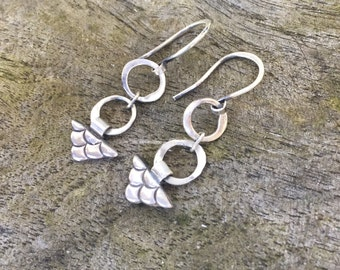 Mermaid, handmade, sterling silver, artisan earrings.